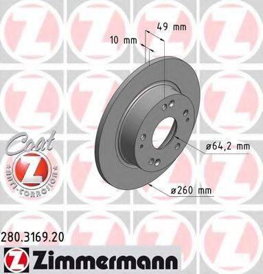 Тормозной диск ZIMMERMANN 280316920 на HONDA ACCORD EURO VIII (CL)