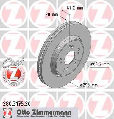 Тормозной диск ZIMMERMANN 280317520 на HONDA CR-V Mk III (RE)