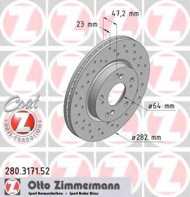 Тормозной диск ZIMMERMANN 280317152 на HONDA EDIX (BE)