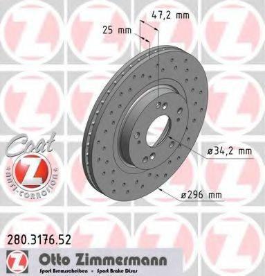 Тормозной диск ZIMMERMANN 280317652 на HONDA ACCORD EURO VIII седан (CU)