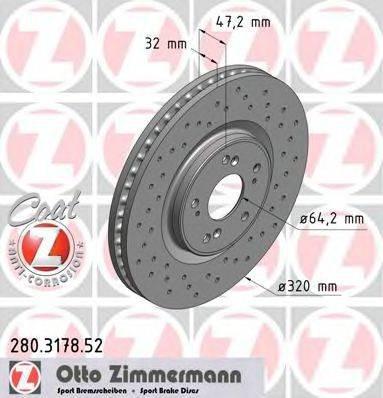 Тормозной диск ZIMMERMANN 280317852
