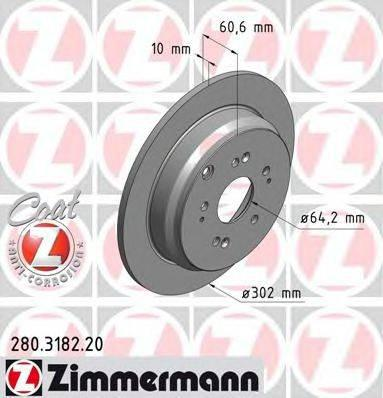 Тормозной диск ZIMMERMANN 280318220 на HONDA CR-V Mk III (RE)