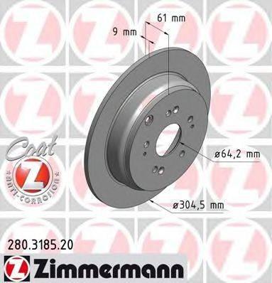 Тормозной диск ZIMMERMANN 280318520 на HONDA CR-V Mk II (RD_)