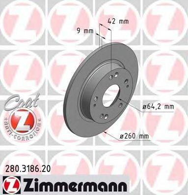 Тормозной диск ZIMMERMANN 280318620 на HONDA CIVIC VIII Hatchback (FN, FK)