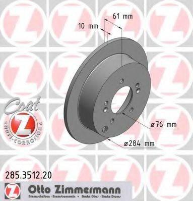 Тормозной диск ZIMMERMANN 285351220 на HYUNDAI SANTA FÉ I (SM)