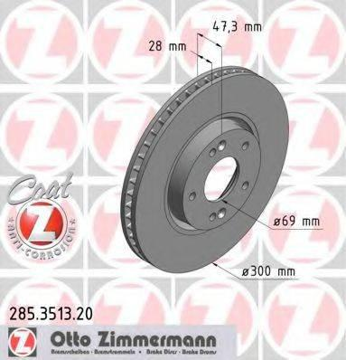 Тормозной диск ZIMMERMANN 285351320 на HYUNDAI ELANTRA GT (GD)