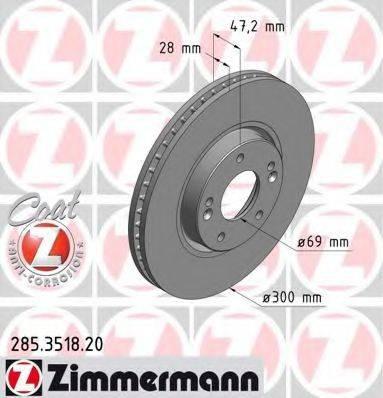 Тормозной диск ZIMMERMANN 285351820 на KIA SPORTAGE (SL)