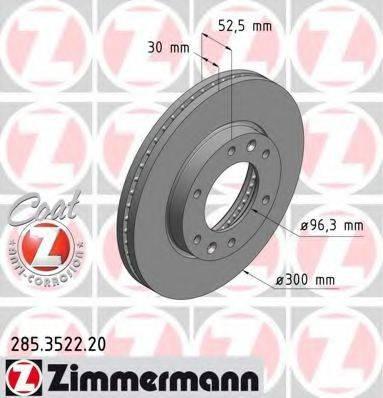 Тормозной диск ZIMMERMANN 285352220 на HYUNDAI H-1 / GRAND STAREX автобус (TQ)
