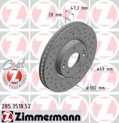 Тормозной диск ZIMMERMANN 285351852 на KIA SPORTAGE (SL)