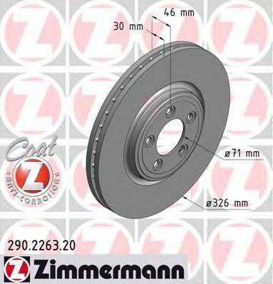 Тормозной диск ZIMMERMANN 290226320 на JAGUAR XF седан (_J05_, CC9)