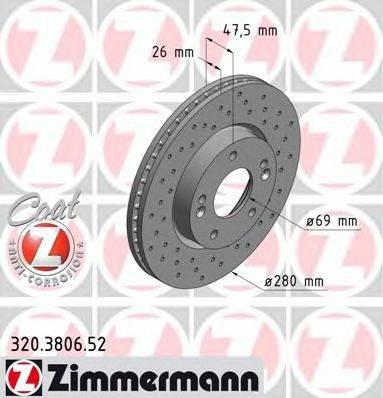 Тормозной диск ZIMMERMANN 320380652 на HYUNDAI ix20 (JC)
