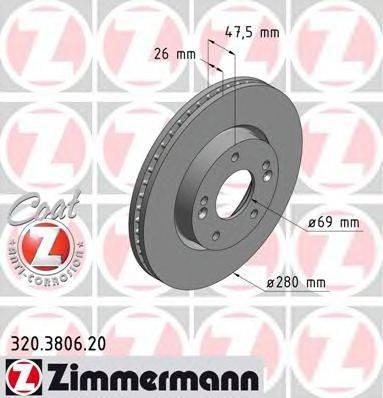 Тормозной диск ZIMMERMANN 320380620 на HYUNDAI ix20 (JC)