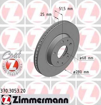 Тормозной диск ZIMMERMANN 370305320 на MAZDA AXELA (BM)