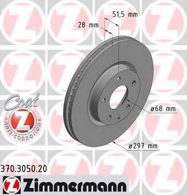 Тормозной диск ZIMMERMANN 370305020 на MAZDA CX-5 (KE, GH)