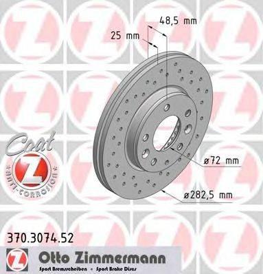 Тормозной диск ZIMMERMANN 370307452 на MAZDA ATENZA Наклонная задняя часть (GG)