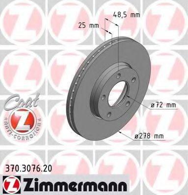 Тормозной диск ZIMMERMANN 370307620 на MAZDA PREMACY (CW)