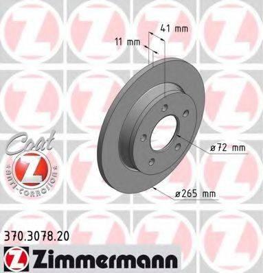 Тормозной диск ZIMMERMANN 370307820 на MAZDA 3 седан (BL)