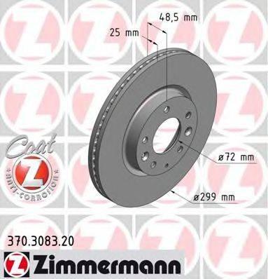 Тормозной диск ZIMMERMANN 370308320 на MAZDA 6 Sport (GH)