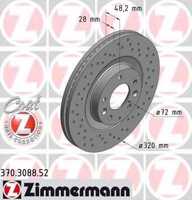 Тормозной диск ZIMMERMANN 370308852 на MAZDA CX-7 (ER)