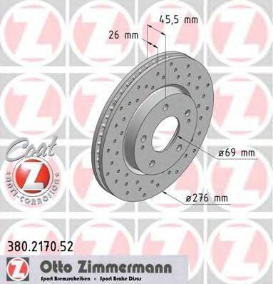 Тормозной диск ZIMMERMANN 380217052 на MITSUBISHI LANCER EX седан (CY/Z_A)