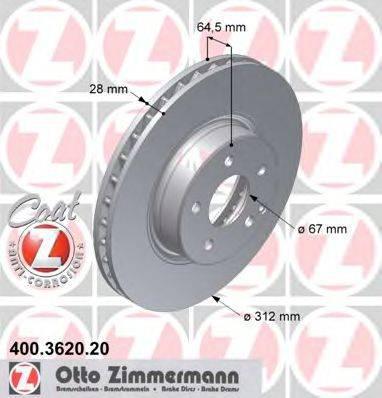 Тормозной диск ZIMMERMANN 400362020 на MERCEDES-BENZ E-CLASS седан (W211)