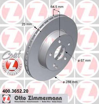 Тормозной диск ZIMMERMANN 400365220 на MERCEDES-BENZ C-CLASS седан (W204)