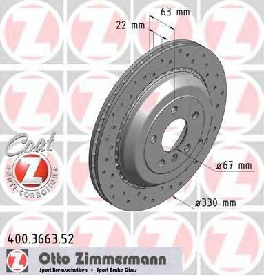 Тормозной диск ZIMMERMANN 400366352 на MERCEDES-BENZ R-CLASS (W251, V251)