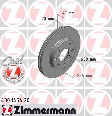 Тормозной диск ZIMMERMANN 430145420 на OPEL CORSA A Наклонная задняя часть (93_, 94_, 98_, 99_)