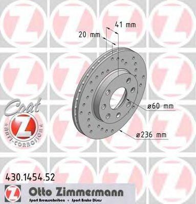 Тормозной диск ZIMMERMANN 430145452 на OPEL CORSA A Наклонная задняя часть (93_, 94_, 98_, 99_)