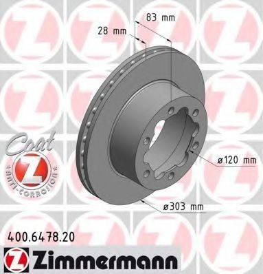Тормозной диск ZIMMERMANN 400647820 на VW CRAFTER 30-35 автобус (2E_)