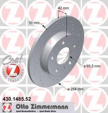 Тормозной диск ZIMMERMANN 430148552 на VAUXHALL MERIVA Mk II (B)