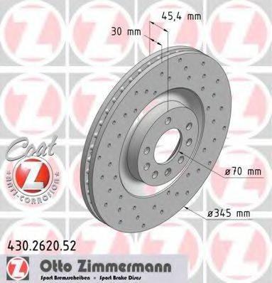 Тормозной диск ZIMMERMANN 430262052 на VAUXHALL VECTRA Mk II (C) универсал