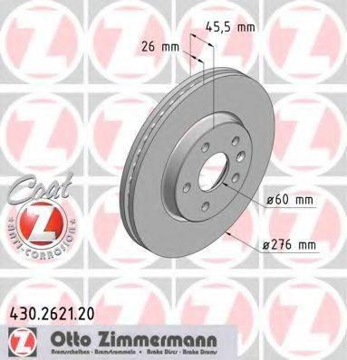 Тормозной диск ZIMMERMANN 430262120 на OPEL ASTRA J Sports Tourer