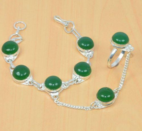 Зеленый оникс браслет с кольцом Жади с ониксом в серебре Индия