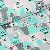 ✁ Отрезы бязи Мишки мятно-розовые, фото 1
