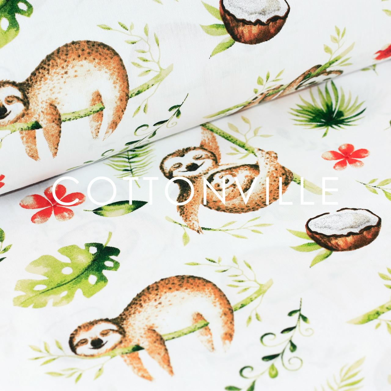 ✁ Отрезы хлопковой ткани Ленивцы белый фон
