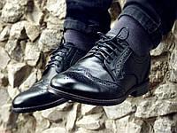 Мужские Туфли Броги Натуральная Кожа черные