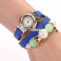 Оригинальные часы браслет с бусинками синий цвет