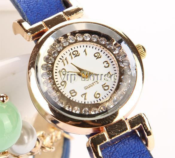 Красиві годинник браслет з намистинками синій колір