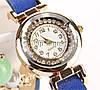 Красивые часы браслет с бусинками синий цвет