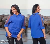 Женская блуза с сеткой №41116 (р.48-56)\ электрик, фото 1