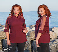Женская блуза с сеткой №41116 (р.48-56)\ марсала, фото 1