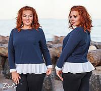 Женская блуза №41115 (р.48-56)\ т.синяя, фото 1