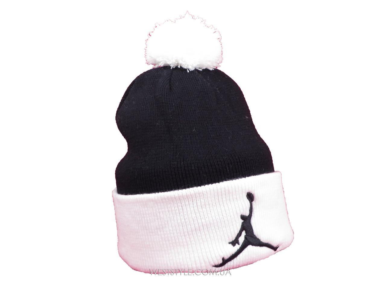 Черная шапка Jordan с белым помпоном (реплика)