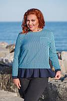 Женская блуза №41115 (р.42-48)\ ментол полоска, фото 1
