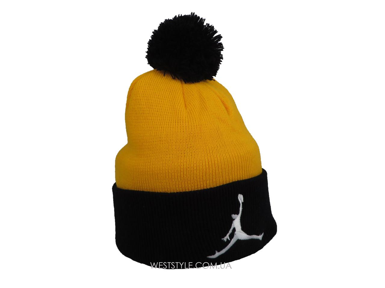 Желтая шапка Jordan с черным помпоном  (реплика)