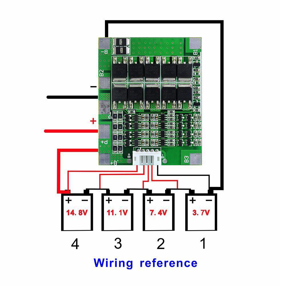 Контроллер заряда/разряда BMS 4S 30A 16,8V (балансир) Li-Ion 18650 + провод