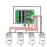 Контроллер заряда/разряда BMS 4S 30A 16,8V (балансир) Li-Ion 18650 + провод, фото 3