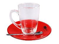 Чайный набор 2 пр. с ложками красный