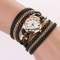 Наручные женские часы браслет косичкой черный цвет
